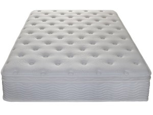 A white Zinus mattress without sheets