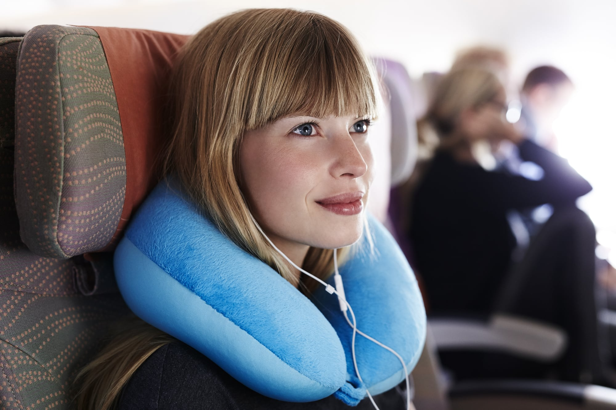 Beautiful passenger on plane