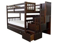 Bedz King Twin Over Twin Bunk Bed With Stairs