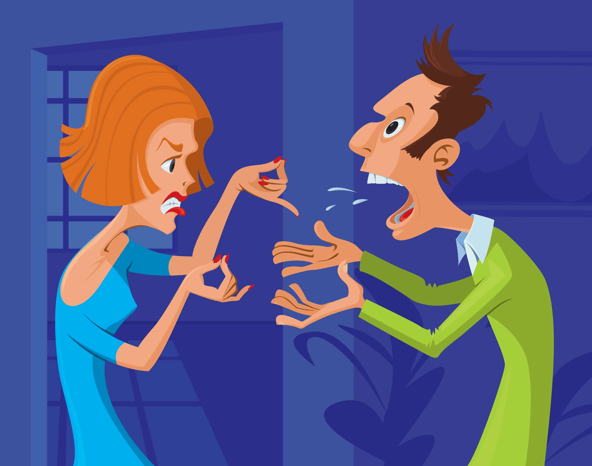 A couple in a bad, or somewhat negative mood shouting at eachother