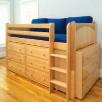 Wood Loft Bed With Dresser Underneath