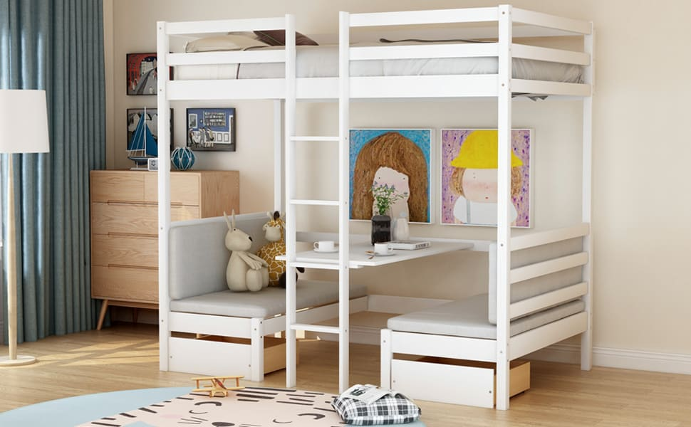 meritline loft bed with couch