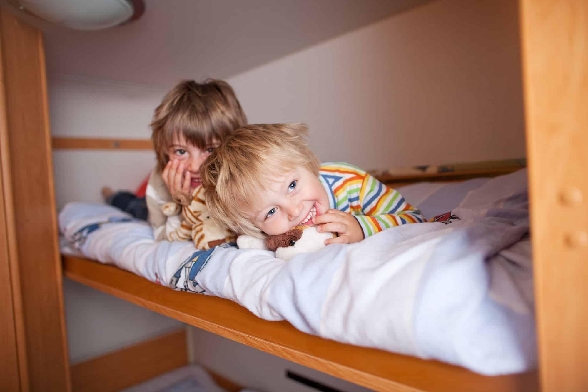 Children sleeping in a bunk bed