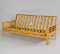 A wooden futon frame