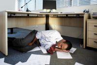 A man sleeping at work due to cataplexy
