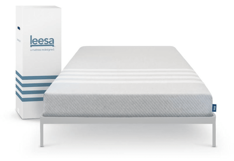 Leesa mattress in a box and on a bed base