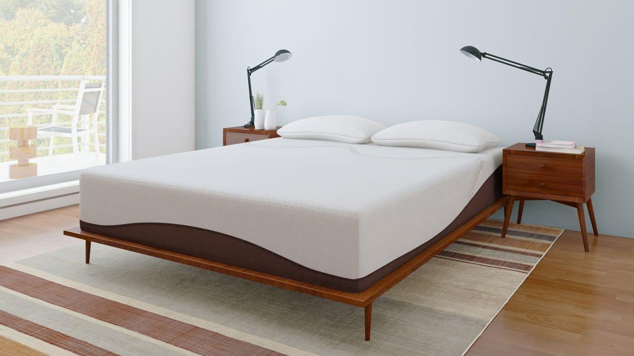 An Amerisleep mattress on a platform bed