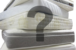 A pile of mattresses with a question mark