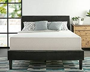 A Zinus Green Tea mattress on leather bed frame