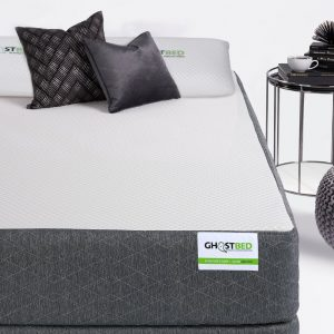 Ghostbed mattress and two black pillows