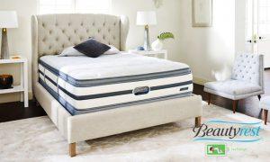 A Simmons Beautyrest mattress and bed