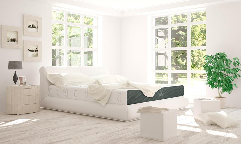 Puffy mattress on a slatted bed foundation