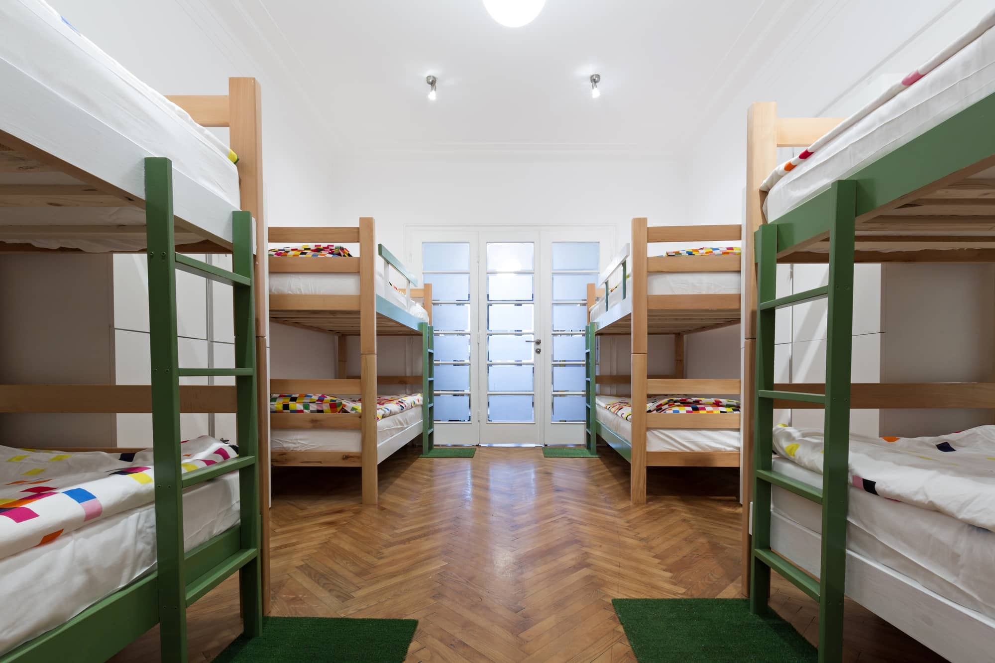 Bunk beds in a hostel room