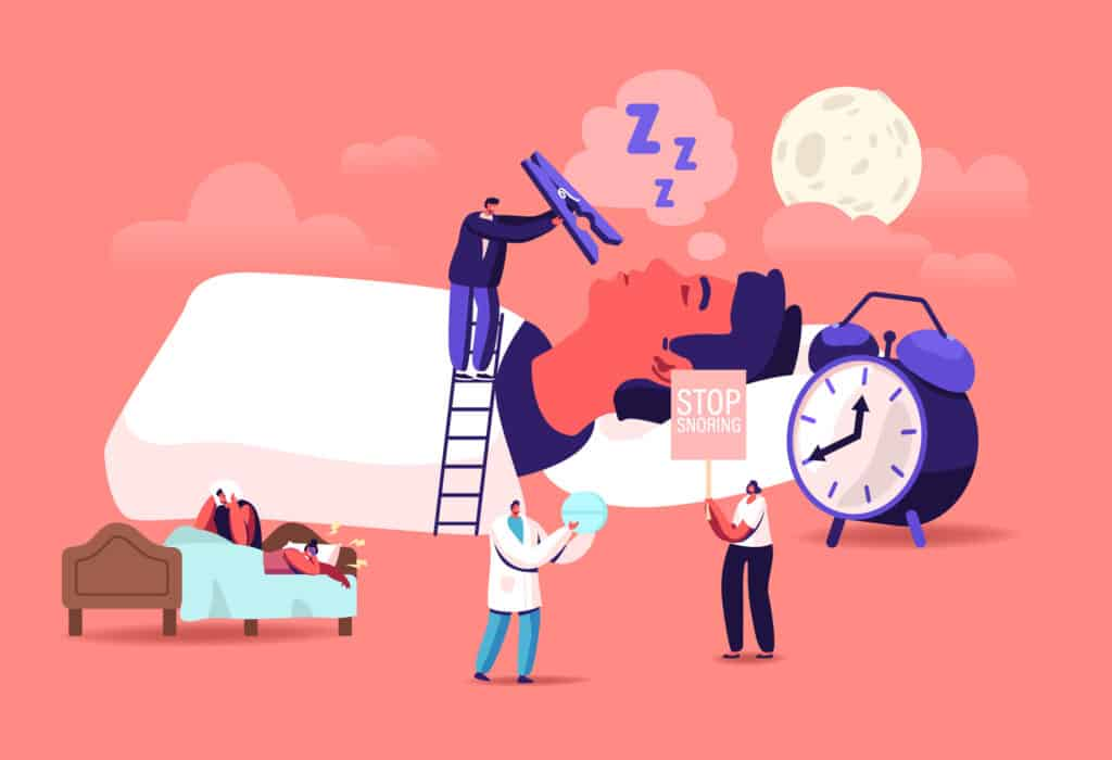 Snore Concept. Tiny Characters Sleeping in Bed and Suffering of Snoring, Angry Awake Man Listening Night Snoring of Wife, Sleep Apnea Syndrome, Medical Treatment